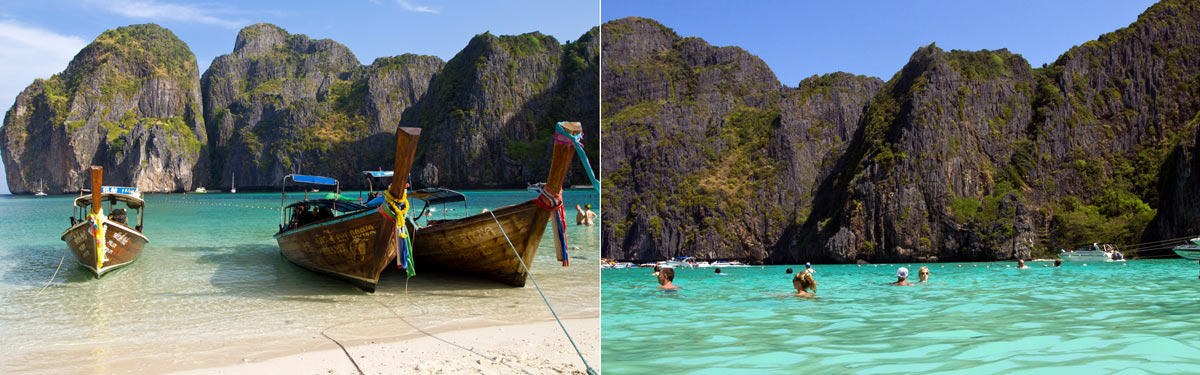 The beautiful Maya Bay in Koh Phi Phi, Thailand